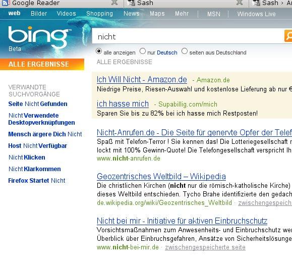 NICHT die richtigen Ergebnisse? Screenshot: bing.com
