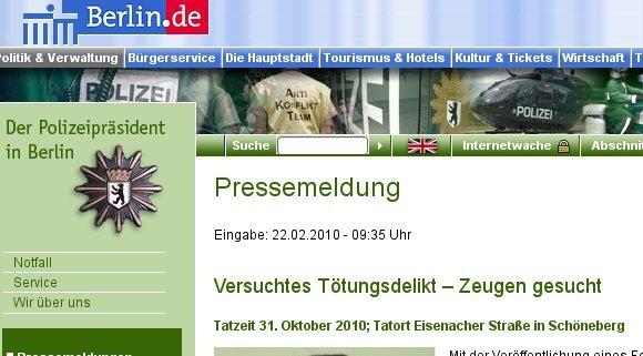 Ihrer Zeit voraus - die Berliner Polizei. Quelle: berlin.de